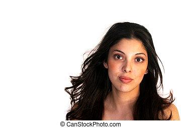 beau, femme hispanique