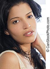 beau, femme hispanique, jeune, latin