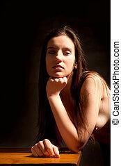 beau, femme nue, jeune, classique