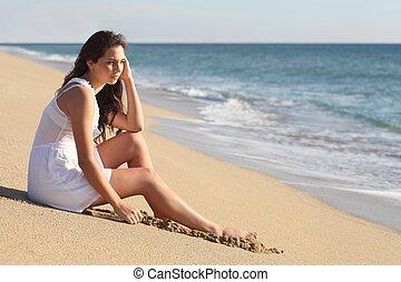 beau, femme pensée, mer, regarder