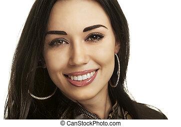 beau, femme souriante, headshot