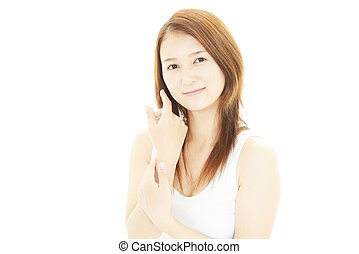 beau, femme souriante, jeune