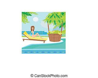 beau, femme tropicale, jeune, recours