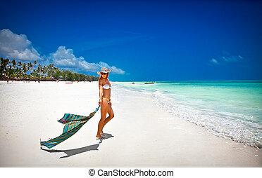 beau, femme tropicale, plage, relâcher