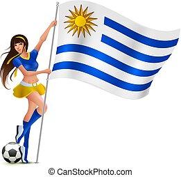 beau, femme, uruguay, jeune, drapeau, ventilateur, tenue
