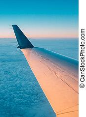 beau, fenêtre, coucher soleil, fenêtre., vu, avion, levers de soleil, vue