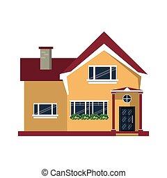 beau, fenêtre, maison, fleurs, dessin animé, gentil