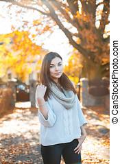 beau, feuillage, lumière, chandail, automne, fond, girl, tricotter