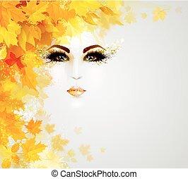 beau, feuilles automne, femme, cercle