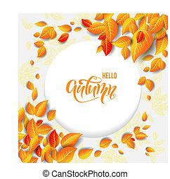 beau, feuilles, cadre, automne