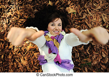 beau, feuilles, jeune, automne, automne, girl, mensonge