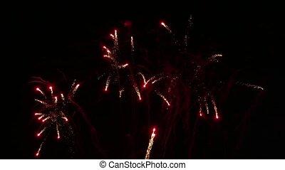 beau, feux artifice, exposition