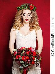 beau, fiancée, fond, fleurs blanches, robe, rouges