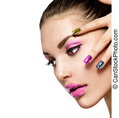 beau, fille, mode, face., manucure, maquillage