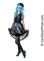beau, fille noire, robe