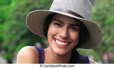 beau, fille souriante, heureux