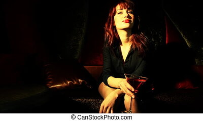 beau, filmé, stopmotion, cocktail, classique, club, épingle-augmentez, vip, girl, boire