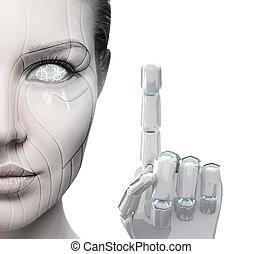 beau, finger., cyborg, femme, spectacles