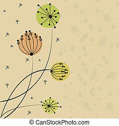 beau, fleur, carte
