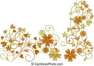 beau, fleur, espace, texte, illustré, conception, fond, ton