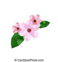 beau, fleur, origami, illustration, cerise