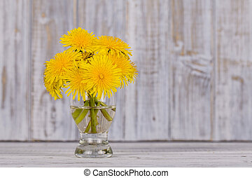 beau, fleur, pissenlit, bouquet, bois, fond, blanc