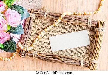 beau, fleur, porte-photo, sac, étiquette papier, vide