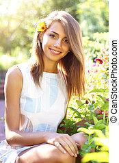 beau, fleuri, jardin, girl
