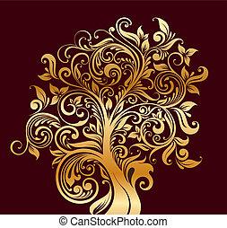 beau, fleurs, arbre, or
