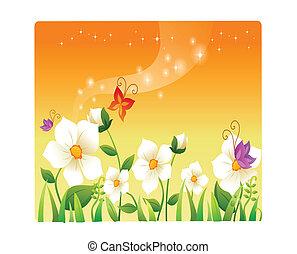 beau, fleurs, dessin animé, paysage