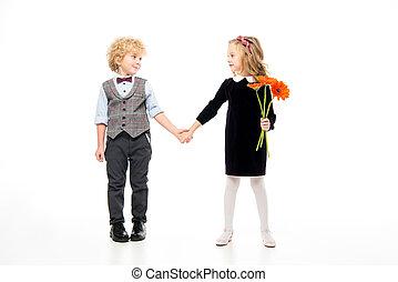 beau, fleurs, enfants