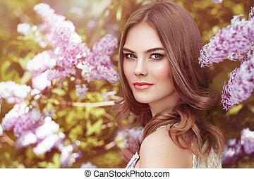 beau, fleurs, femme, lilas