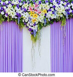beau, fleurs, fond, pour, mariage, scène