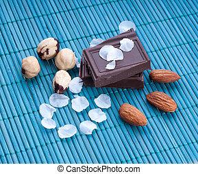 beau, fleurs, fou, fond, chocolat