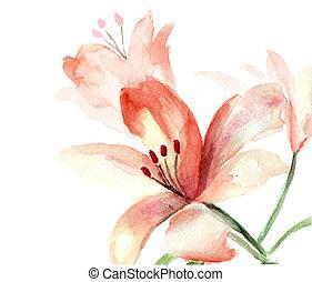 beau, fleurs, lis