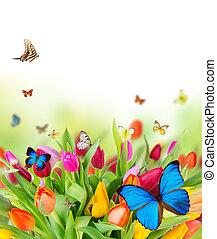 beau, fleurs ressort, à, papillons