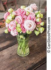 beau, fleurs roses, vase