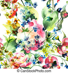 beau, fleurs sauvages, papier peint, seamless