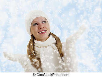 beau, Flocons neige, hiver, fond,  girl, heureux