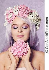 beau, floral, girl, couronne