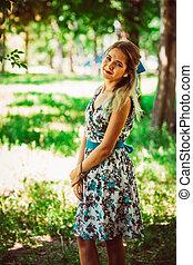 beau, floral, girl, robe, jeune