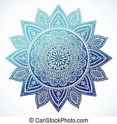beau, floral, indien, ornement, mandala