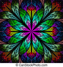 beau, flower., multicolore, engendré, infographie, fractal