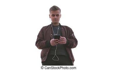 beau, fond, mobile, tient, jeune, téléphone, homme, vue,...