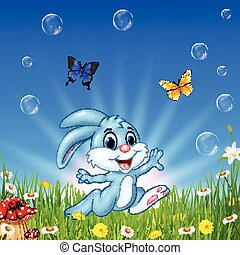 beau, fond, nature, exécuter lapin, dessin animé, heureux