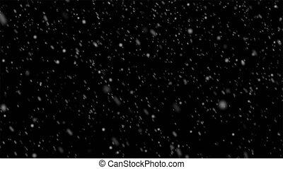 beau, fond, noir, isolé, chute neige