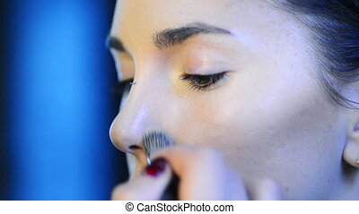 beau, fondation, artiste, maquillage, skintone, model., applique, figure