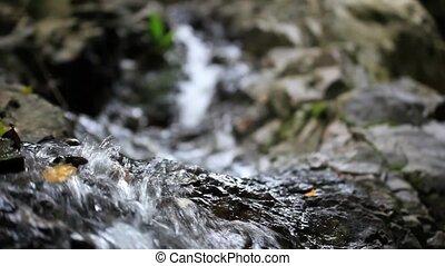 beau, forest., décalage, mouvement, chute eau, vidéo, jungle, foyer., thailand., chenge, hd., 1920x1080