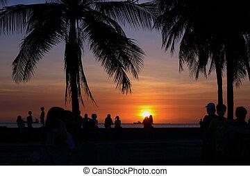 beau, foule, bay., coucher soleil, manille, apprécier