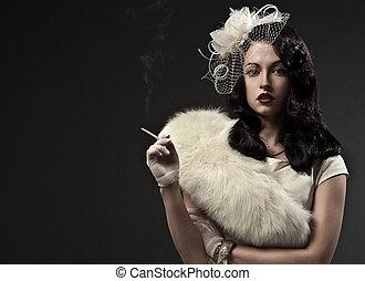 beau, fumer, woman., retro, portrait